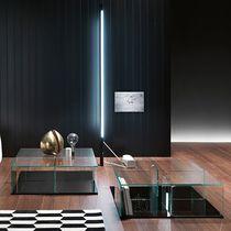 Tavolino basso moderno / in vetro / in vetro curvato / quadrato