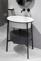 Mobile lavabo da appoggio / in ceramica / moderno / con specchio