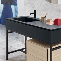 Mobile lavabo da appoggio / in legno / in ceramica / in acciaio