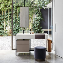Mobile lavabo da appoggio / in legno / in ceramica / design