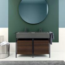 Mobile lavabo doppio / da appoggio / in legno / in ceramica