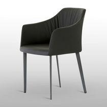 Sedia moderna / con braccioli / in tessuto / in legno