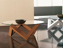 Tavolino basso / moderno / in vetro / in quercia