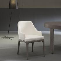 Sedia moderna / in quercia / in pelle / imbottita