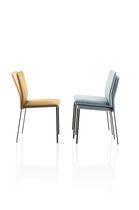 Sedia moderna / in acciaio / impilabile / imbottita