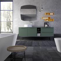 Mobile lavabo da appoggio / in legno / moderno / con scaffale integrato