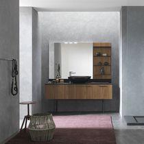 Mobile lavabo da appoggio / in noce / in alluminio / classico