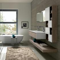 Mobile lavabo doppio / sospeso / in quercia / in HPL
