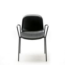 Sedia design scandinavo / imbottita / impilabile / con tavoletta