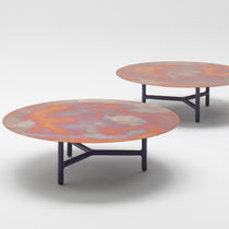 Tavolino basso moderno / in alluminio / rotondo / da interno