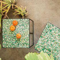 Tavolo d'appoggio moderno / in acciaio inossidabile / quadrato / da giardino