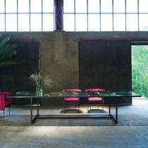 Tavolo da pranzo moderno / in alluminio / in pietra / rettangolare