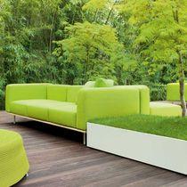 Divano moderno / da giardino / in legno / in acciaio inox