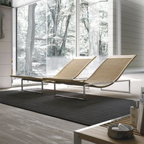 Chaise longue moderna / in faggio / in acciaio inossidabile