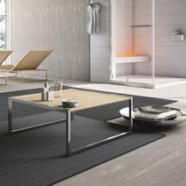 Tavolino basso moderno / in faggio / in acciaio inossidabile / quadrato
