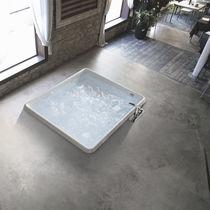 Vasca da bagno quadrata / in acrilico / idromassaggio / per cromoterapia