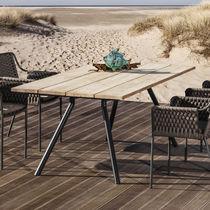 Tavolo moderno / in teak / in acciaio inossidabile / in laminato