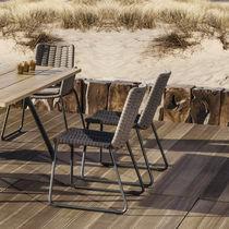 Sedia da giardino moderna / a slitta / in alluminio / in corda