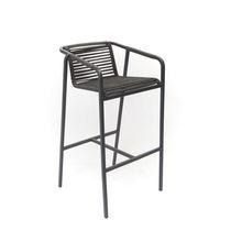 Sedia alta moderna / con braccioli / in alluminio / in acciaio inossidabile lucido