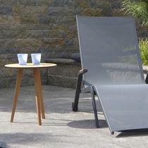 Tavolo d'appoggio moderno / in teak / rotondo / da giardino