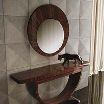 Specchio a muro / moderno / rotondo / in legno laccato