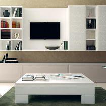 Tavolino basso in stile / in legno laccato / quadrato / da interno