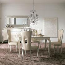 Tavolo da pranzo in stile / in legno laccato / bianco