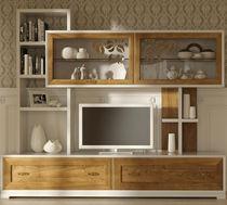 Parete attrezzata TV in stile / in legno / in legno laccato / in vetro