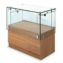 Vetrina moderna / in vetro / in quercia / illuminata