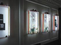 Vetrina moderna / da parete / in vetro / in acciaio inox