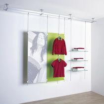 Sistema di scaffali sospeso / moderno / in vetro / per negozio