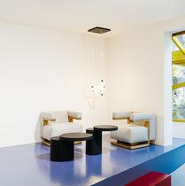 Tavolino basso moderno / in MDF laccato / rotondo / per edifici pubblici