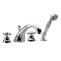 Miscelatore doppio comando per doccia / per vasca / da appoggio / in metallo cromato