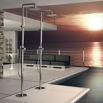 Set doccia a pavimento / moderno / con soffione su colonna fissa