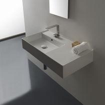 Lavabo sospeso / rettangolare / moderno / con piano integrato