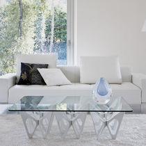 Tavolino basso design originale / in quercia / in legno compensato / in legno tinto