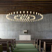 Lampada a sospensione / design industriale / in ottone / in vetro