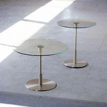 Tavolo d'appoggio moderno / in vetro / in metallo / rotondo