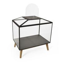 Vetrina design originale / con piede / in quercia / in vetro