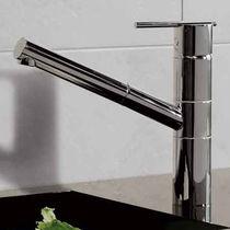 Miscelatore in metallo cromato / da cucina / 1 foro / a becco orientabile