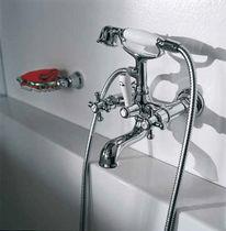 Miscelatore doppio comando per doccia / per vasca / da parete / in metallo cromato