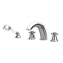 Miscelatore doppio comando per doccia / per vasca / da bancone / in metallo cromato