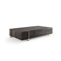 Tavolino basso moderno / in quercia / in acciaio inossidabile / rettangolare