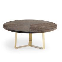 Tavolo da pranzo moderno / in noce / in metallo / rotondo