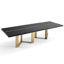Tavolo da pranzo moderno / in legno / in acciaio inossidabile / in ottone