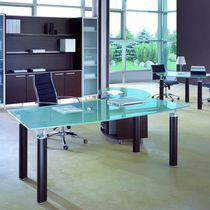 Scrivania direzionale / in quercia / in alluminio / in vetro