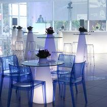 Tavolo alto moderno / in vetro temprato / in polietilene / rotondo
