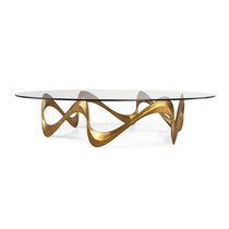 Tavolino basso classico / in vetro / in ghisa di alluminio / ovale