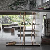 Libreria design originale / in noce / in alluminio / in vetro