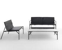 Tavolino basso moderno / in marmo / in acciaio laccato / rettangolare